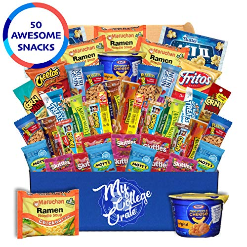 (My  College  Crate   Microwave  Snack Care Package -  50 Piece  Bulk Variety Pack Box for Adults  and  Kids  with Ramen)