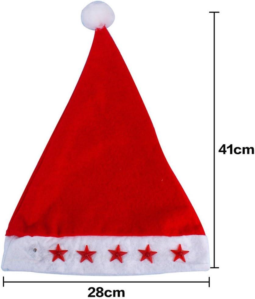 Lot de 2 Bonnets de Père Noel 5 étoiles Lumineux et Sonore Chant de Noël