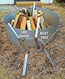 No Rust Stainless Steel Vertical Teepee Fire Pit Fire Wood Grate- Less Smoke