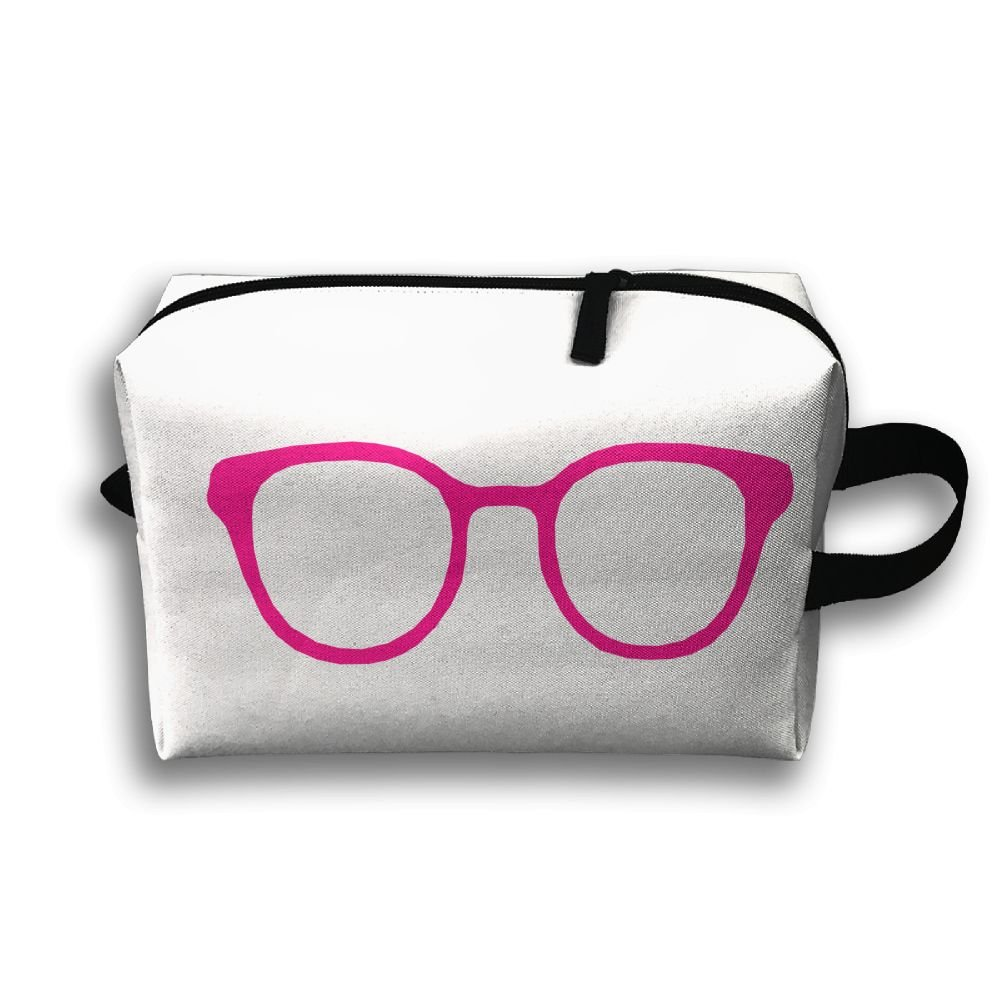 Linya's Chic Hot Pink-Rimmed Glasses-Vector Design Women's Travel Cosmetic Bags Small Makeup Clutch Pouch Cosmetic And Toiletries Organizer Bag