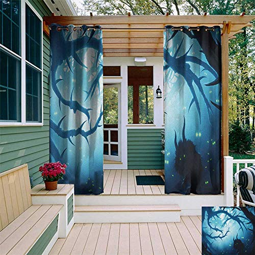 leinuoyi Mystic, Outdoor Curtain Ends, Animal with Burning Eyes in The Dark Forest at Night Horror Halloween Illustration, Outdoor Patio Curtains W96 x L108 Inch Navy White