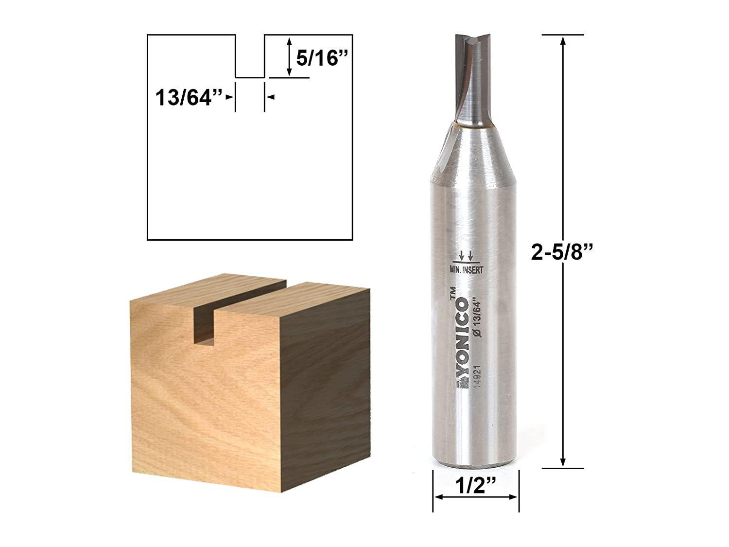 Yonico 14921q 13//64-Inch Solid Carbide Insert Undersized Plywood Router Bit 1//4-Inch Shank