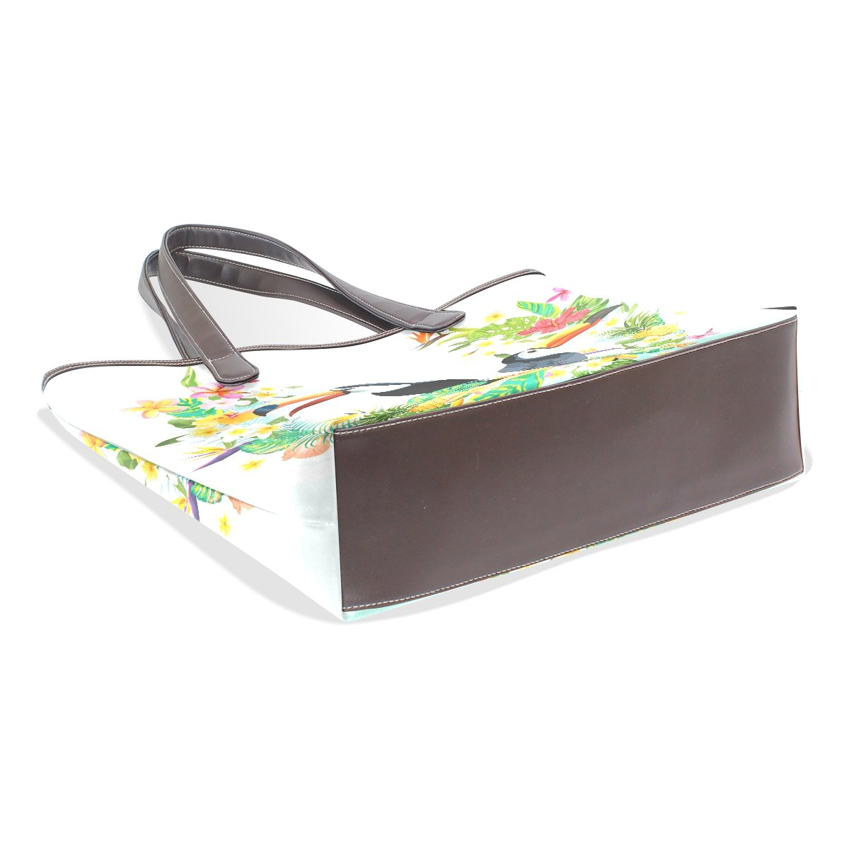 Ye Store Toucan With Floral Heart Lady PU Leather Handbag Tote Bag Shoulder Bag Shopping Bag