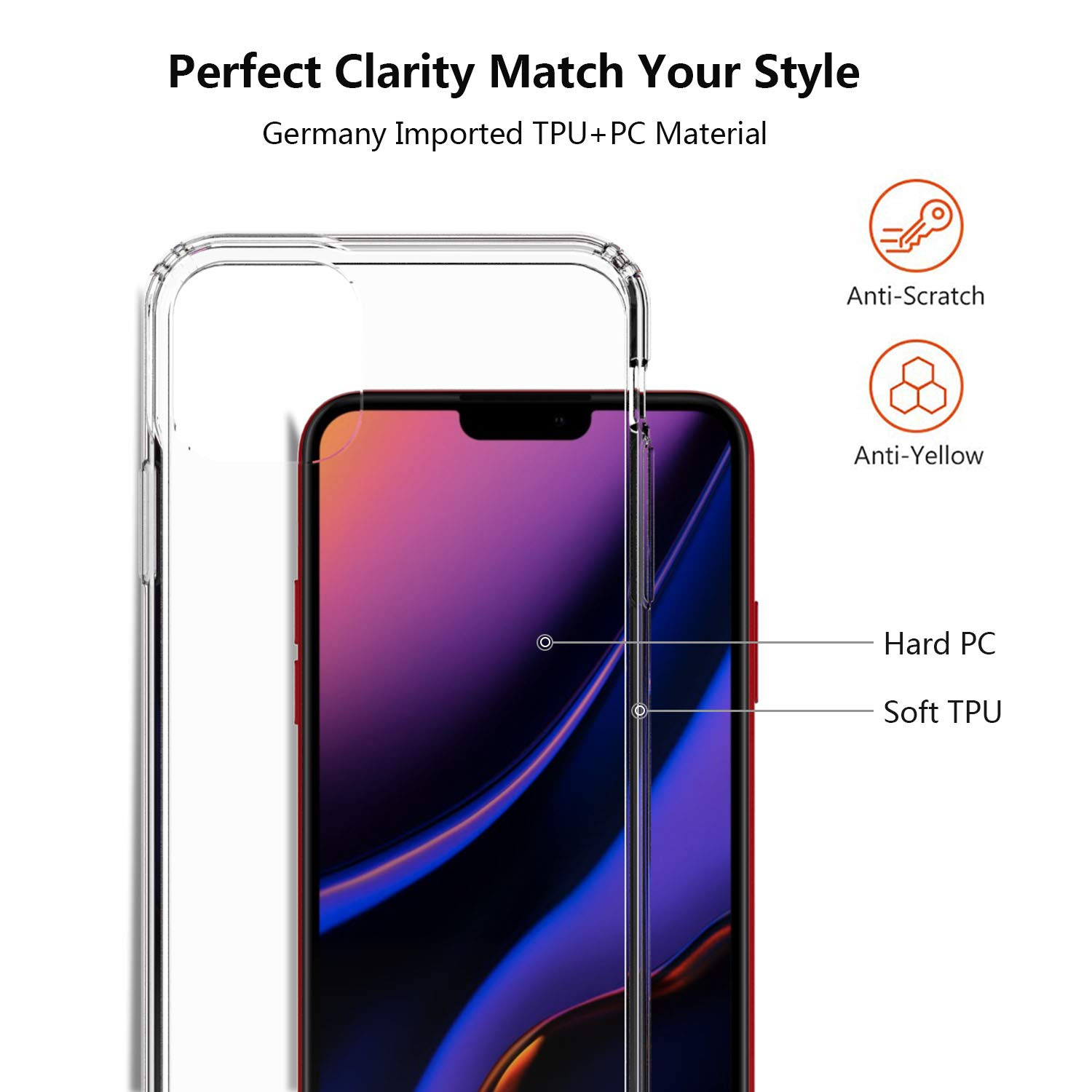 iPhone 11 Pro Max Case, CLONG Compatible with iPhone 11 Pro Max Case, Crystal Clear Anti-Scratch Shock Absorption TPU/PC Bumper Protective Cover Case for 6.5inch Apple iPhone 11 Pro Max, HD Clear