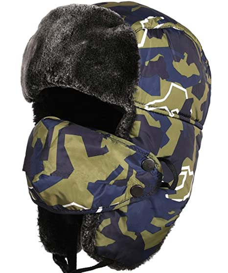 234fa1691fc98 HELLOYEE Winter Tropper Trapper Hat Ushanka Russian Style Bomber Hat with  Ear Flap Chin Strap and