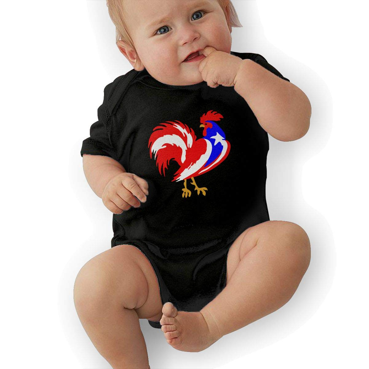Puerto Rico Flag Rooster Infant Baby Girl Boy Romper Jumpsuit Outfit Short Sleeved Bodysuit Tops Clothes
