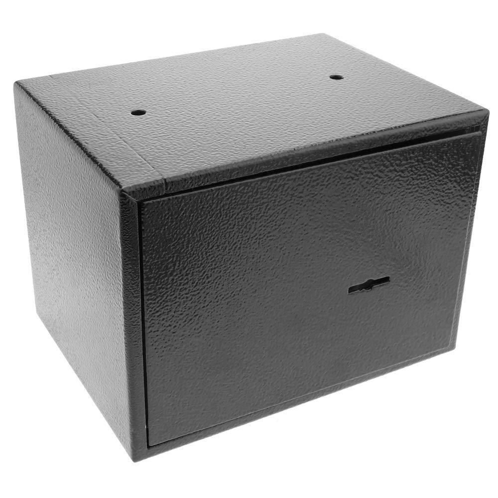 PrimeMatik Wandtresor Stahl mit Schl/üssel Mauertresor M/öbeltresor Wandeinbautresor 19 x 14 x 14 cm schwarz