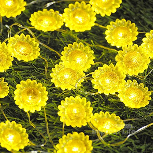 Impress Life String Lights Decorations, Sunflower Helianthus Theme 10 ft Silver Wire 40 LEDs Battery-Powered Twinkle Lighting with Remote for Garden, Patio, Mantle, Mirror Bed, Wreath Memorial Day