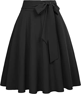 Belle Poque Women's High Waist A-Line Pockets Skirt Skater Flared Midi Skirt