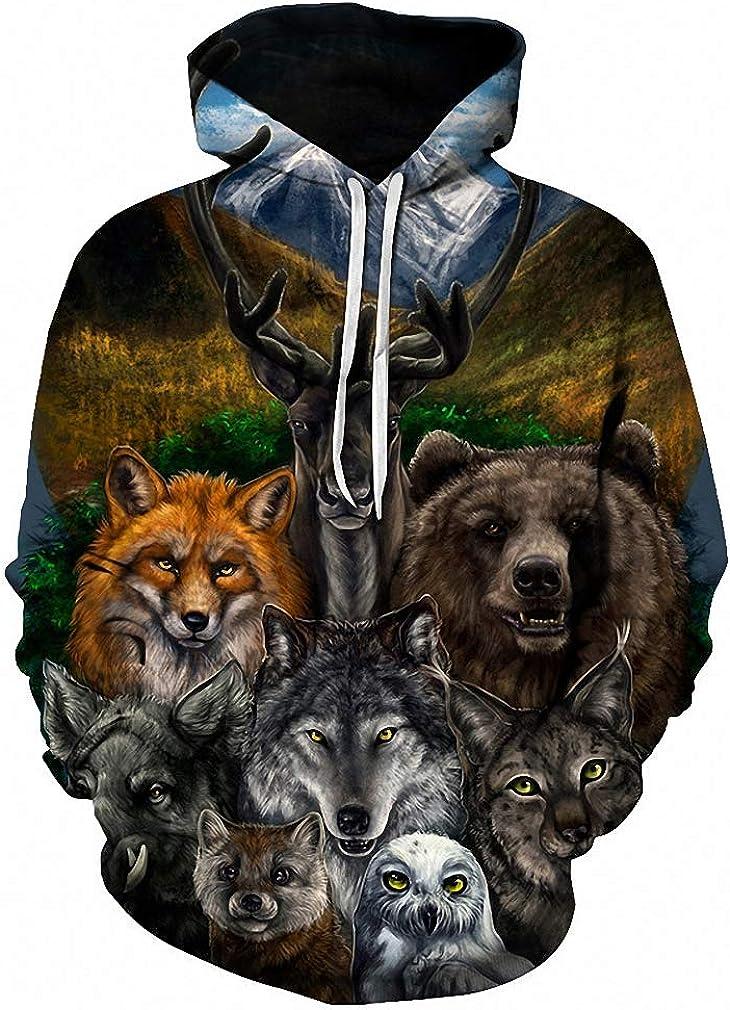 3D Animal Printed Hoodies Men Sweatshirt Bear Wolf Owl Fox Pullover Tracksuit