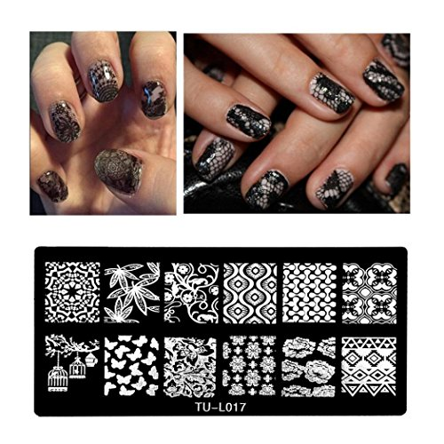 ❤JPJ(TM)❤️ Women Nail Stickers,Girls Nail Art Stickers,Pattern DIY Nail Art Image Stamp Stamping Plates Manicure Template Best Decoration For Your Nails (Halloween Black N White Nails)