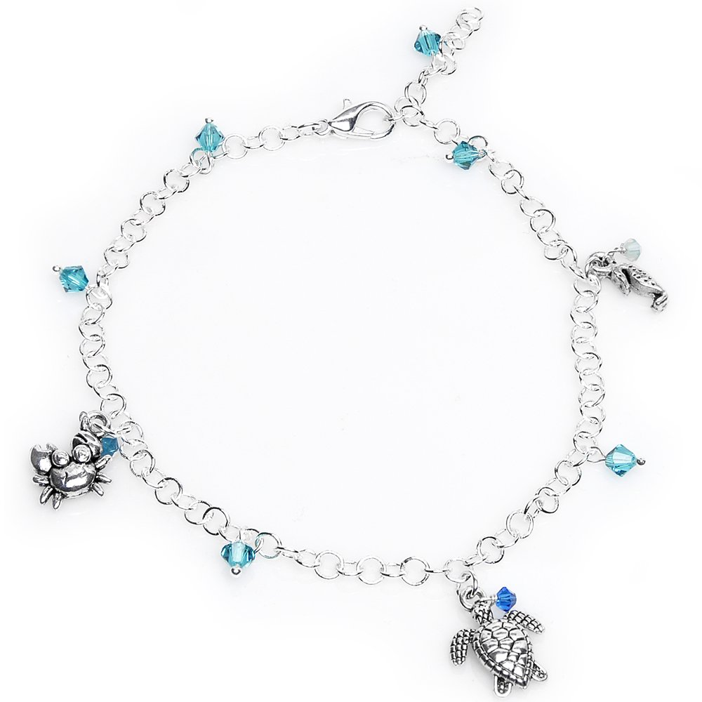 Body Candy Sterling Silver Ocean Creatures Ankle Bracelet Created with Swarovski Crystals 9 1/2 HC-5703