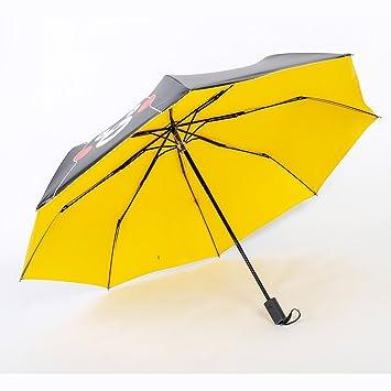 jshebn Cartoon Cute Black Bear lluvia y sol paraguas, Amarillo