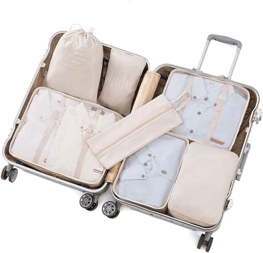 Color : Blue, Size : Free Size Color:Beige//Blue//Gray//White//Dark Blue Liweibao 7PCS Packing Cubes Value Set for Travel Luggage Organiser Bag Compression Pouches Clothes Suitcase