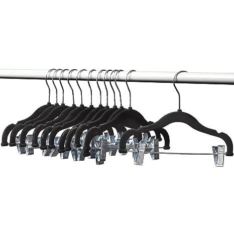Amazon.com: a1-hangers Kids Perchas con clips Negro (13 ...