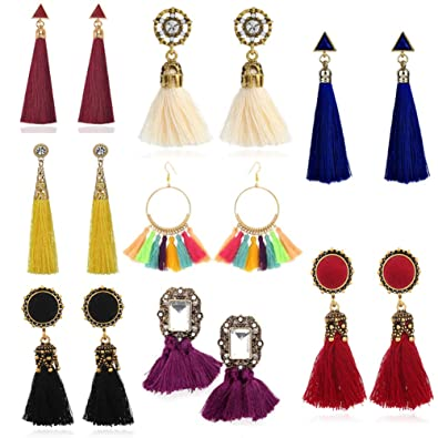 Image result for 8 Pairs Tassel Earrings for Women Dangle Earrings Tiered Dangle Long Earrings Turquoise Tassel Hoop Fringe Bohemian Fringe Drop Earrings Stud Earrings Valentine's Day Halloween Christmas Birthday