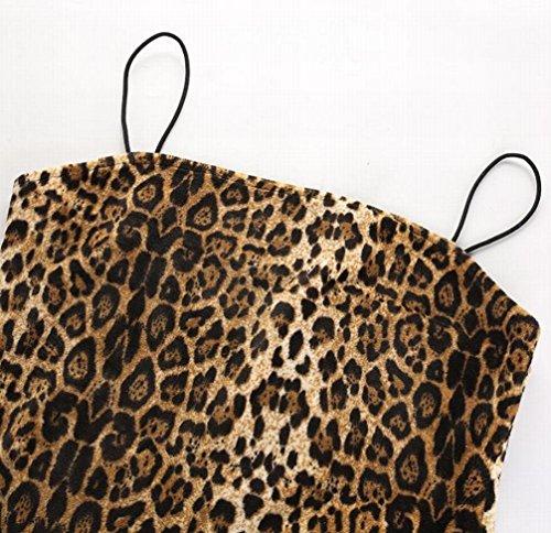 Courroie De Spaghetti Domple Femmes Léopard Imprimé Bandage Moulante Glissement Mini Robe 1