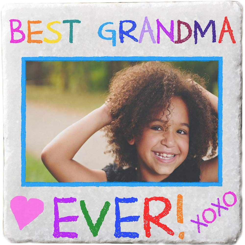 パーソナライズされた写真大理石コースター - 2枚セット Set of 2 (2 different images)  Best Grandma Ever! B07Q2DRNCQ