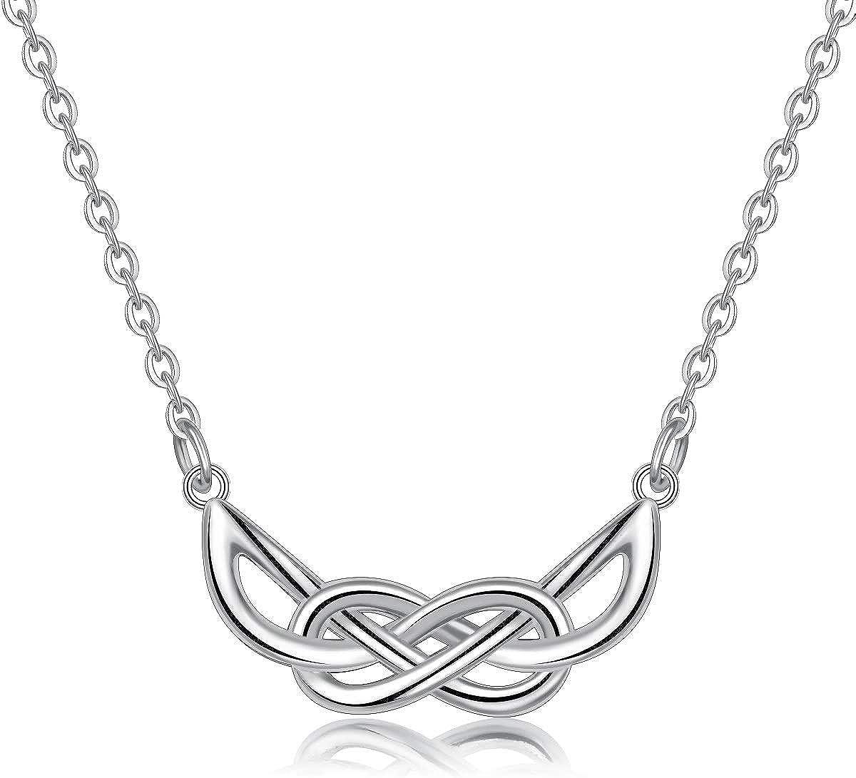 AEONSLOVE Collar de plata de ley con símbolo de infinito celta para mujer, colgante irlandés de amor sin fin de la suerte, regalo para esposa, mujer, madre, novia