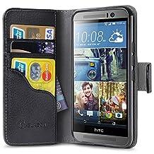 HTC One M9 Case, [Wallet Case] i-Blason **KickStand** HTC One Hima M9 Case [Kickstand] Leather Cover with Credit Card ID Holders (Black)