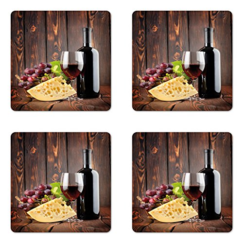 (Ambesonne Wine Coaster Set of 4, Red Wine Cabernet Bottle and Glass Cheese and Grapes on Wood Planks Print, Square Hardboard Gloss Coasters for Drinks, Standard Size, Burgundy)