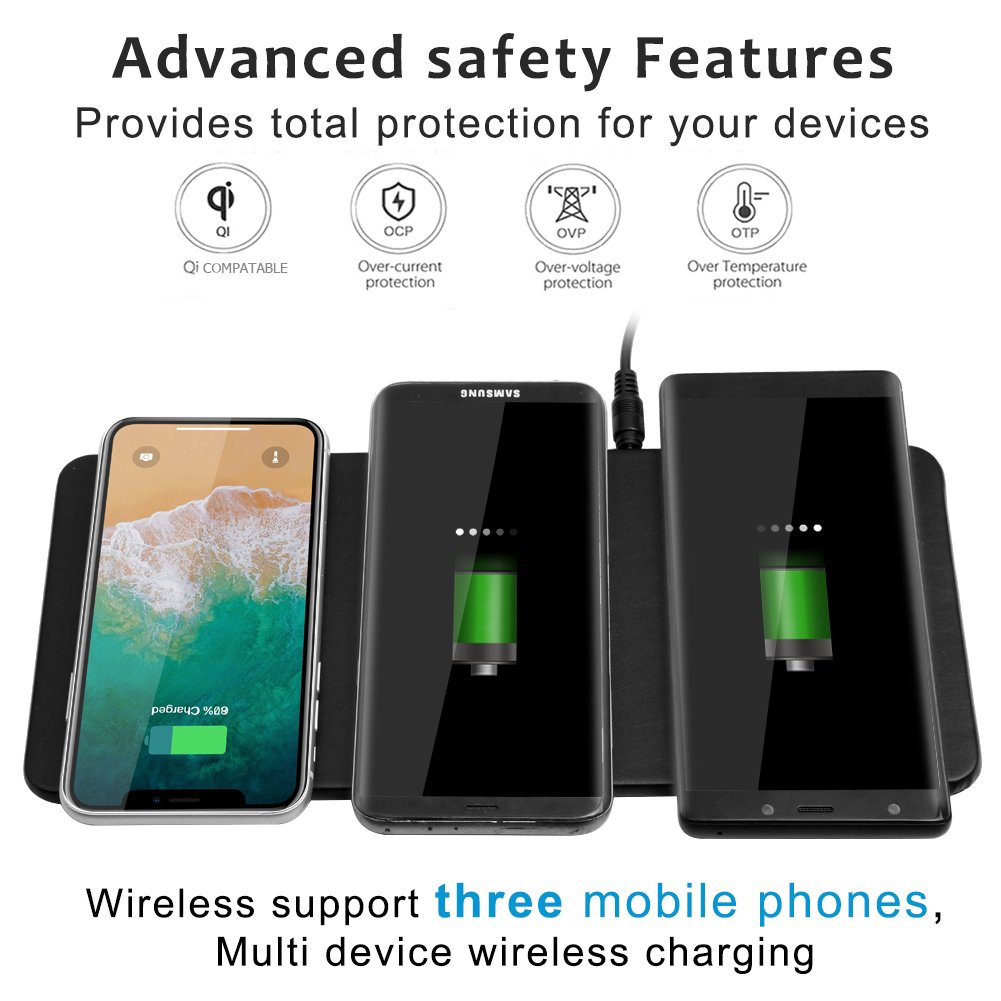 Qi Triple Wireless Charger Station,JE 3 Devices Multi Wireless Charger Pad,Desktop Charging Station for iPhone X, iPhone 8/8Plus, Samsung Galaxy S8+ S7/S7 Edge Note 8/5, Nexus 5/6/7& all QI-Enabled … by JE (Image #5)
