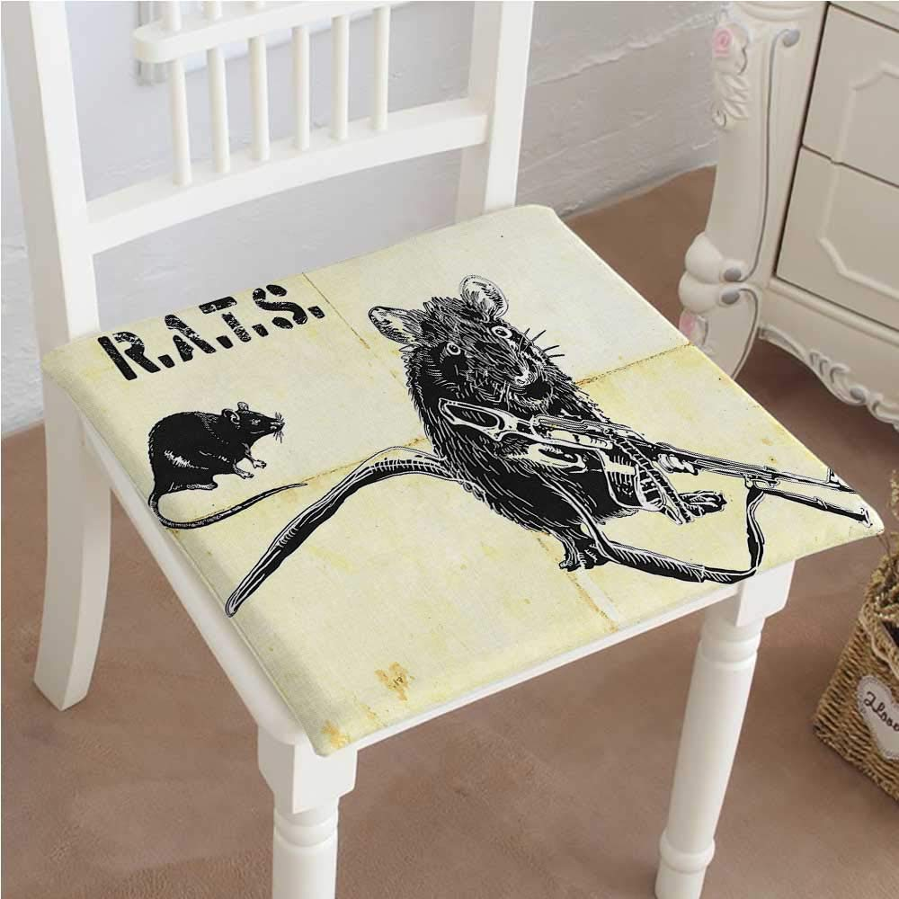 Mikihome Outdoor Chair Cushion Yellow Theme A Rat with Weapon and a Mouse Black and Light Yellow Comfortable, Indoor, Dining Living Room, Kitchen, Office, Den, Washable 26''x26''x2pcs