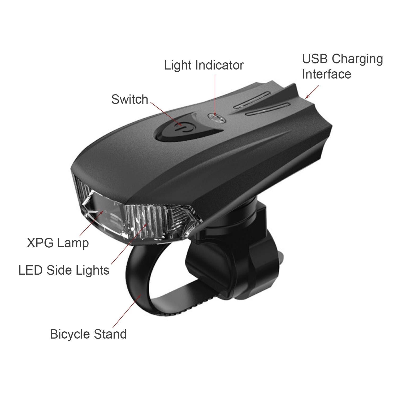 Ardermu Luz De Bicicleta Recargable USB Faro De Bicicleta Be Monta/ña Ultra Brillante Luz Delantera De Bicicleta De Angulo De Haz Ancho para Ciclismo