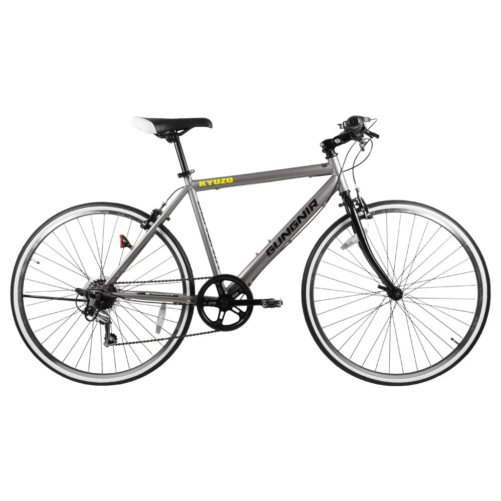KYUZO クロスバイク自転車 26インチ 外装6段変速付き KZ-107 GUNGNIR B07BT9QH5R ガンメタシルバー ガンメタシルバー