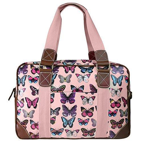 Lujo Miss Lulu hule Bags of hospital/maternidad/bolso cambiador para mamá y bebé (rosa mariposa de hule se limpia con un paño húmedo) - al siguiente día ...