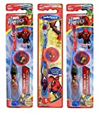 Spider-Man Children's Tooth Brush (Pack of 3) With Cap and Suction - Toothbrush Designs Vary - Premium Quality