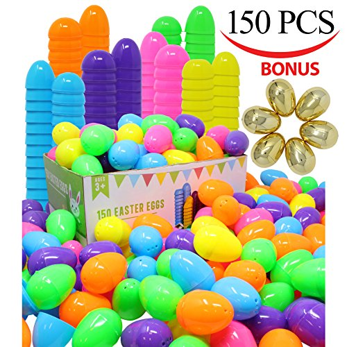 144 Pieces 2 3/8″ Easter Eggs + 6 Golden Eggs for Filling Specific Treats, Easter Theme Party Favor, Easter Eggs Hunt, Basket Stuffers Filler, Classroom Prize Supplies by Joyin Toy