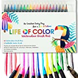 Watercolor Brush Pens – 20 Vibrant Colors, Durable Markers for Lettering, BuJo, Calligraphy, Drawing, Painting - Free Blending Brush and Compact Storage Case-Soft Nylon Brush Tips-for Adults and Kids