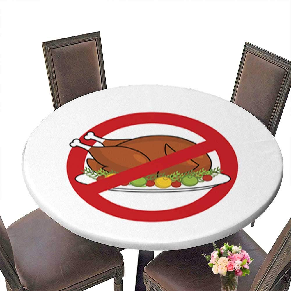 Polyester Round Tablecloth,Stop Roasted Turkey Prohibited Fried Food Red Prohibition Sign Crossed-Baked c Easy Care Spillproof up to 31.5''-33.5'' Diameter