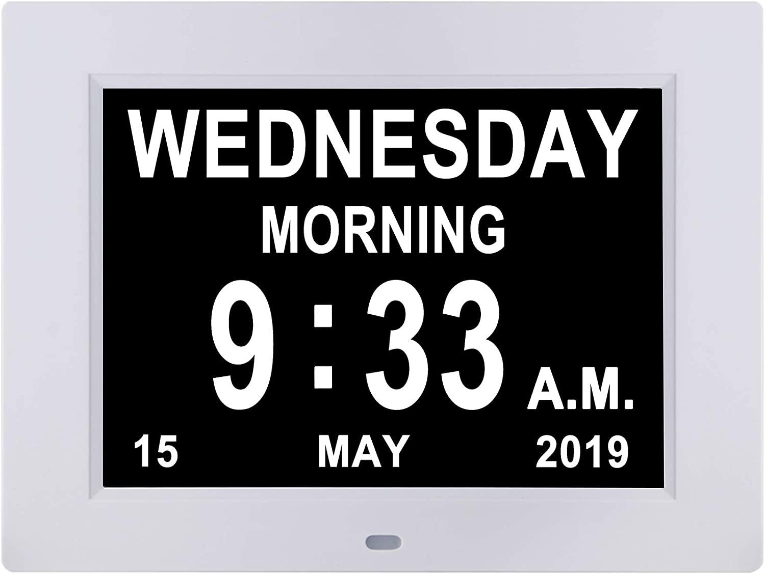 [Remote Control] Digital Day Calendar Clock 8inch 12 Alarms Non-Abbreviations Day & Month Electronic Dementia Alzheimer Vision Impaired Memory Loss Desk Wall Clock