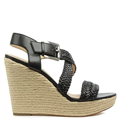 488a8e2a44ff Michael Kors Giovanna Black Leather Woven Wedge Sandal 41 Black Leather