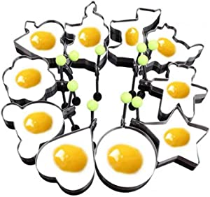 10pcs Set Fried Egg Rings Mold Non Stick for Griddle Pan, Egg Shaper Pancake Maker with Handle, Stainless Steel Egg Form for Frying Cooking