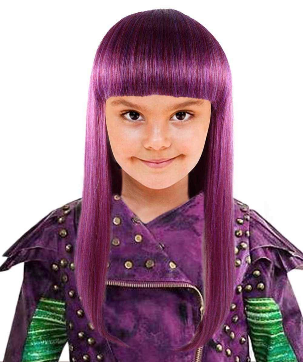 Womens Straight Purple Fancy Wig for Kids HW-1418
