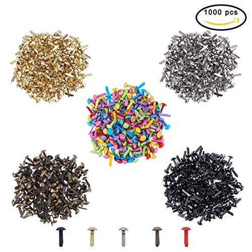 PH PandaHall 1000pcs Mini Brads Fasteners Metal Paper Fasteners Brass Plated Scrapbooking Brads for Crafts Making DIY by PH PandaHall