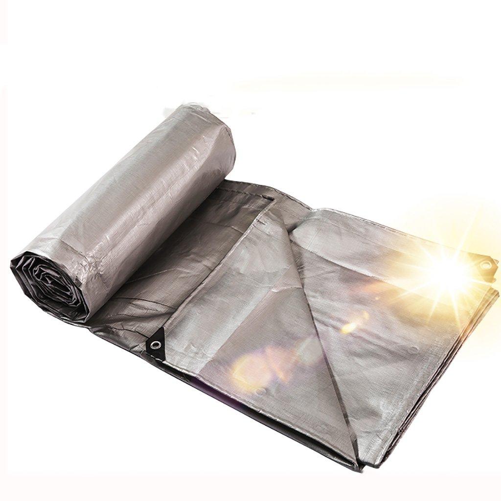 Im Freien Gepolsterte Plane regendichte Sonnenschutz Plane LKW-Plane im Freien Schatten staubdicht Winddicht, Doppelseitige Silber (Farbe   A, größe   4  4m)