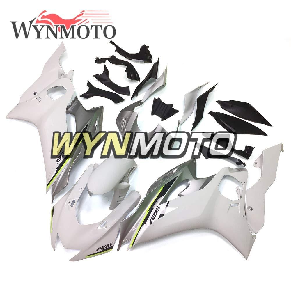 WYNMOTO ホワイトシルバー完全なオートバイフェアリングキットヤマハ YZF-600 R6 年 2017 R6ボディワーク ABS 樹脂射出新しいカウリングR6 2017   B07F3RNS4N