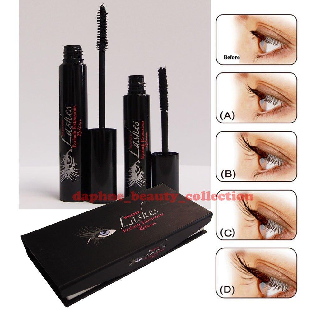 Amazon Relian Dark Black Curl Eyelash Extension Kit Gel