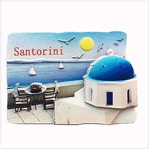 3D Santorini Greece Fridge Magnet Souvenir Gift,Home & Kitchen Decoration Magnetic Sticker Santorini Greece Refrigerator Magnet Travel Souvenir Gift