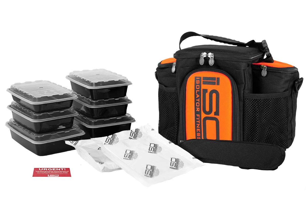 Isolator Fitness 3 Meal ISOBAG Meal Prep Management Insulated Lunch Bag Cooler with 6 Stackable Meal Prep Containers, 2 ISOBRICKS, and Shoulder Strap - MADE IN USA (Thin Red Line)