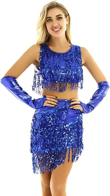 IEFIEL Ropa de Danza Latina Lentejuelas para Mujer Vestido de ...