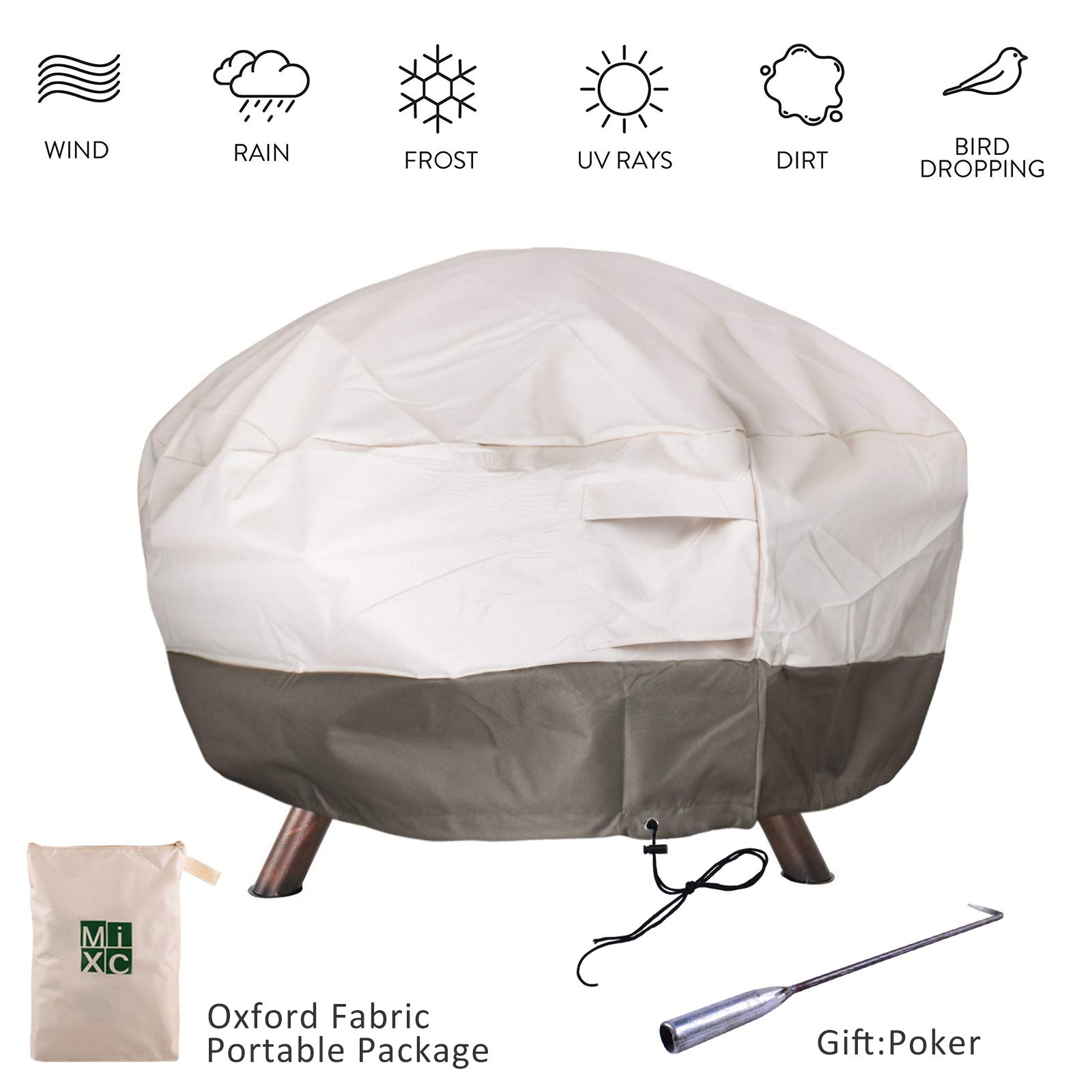"""MIXC Waterproof Round Fire Pit Cover Heavy Duty Outdoor Furniture Covers Patio Garden Fire Table Cover Grill BBQ Cover with Poker,UV and Weather Resistant Protection(36"""" Diameter)"""