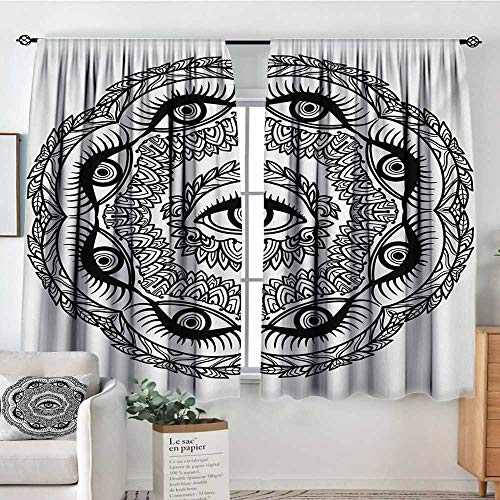 Mozenou Occult Blackout Window Curtain Print in Abstract Floral Crown of Leaves Sticks with Eye of Providence Boho Symbol Bedroom Blackout Curtains 63