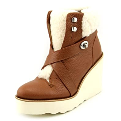 Kenna Women's Pebble Leather Shearling Sheepskin Wedge Booties Snow Boots Shoes
