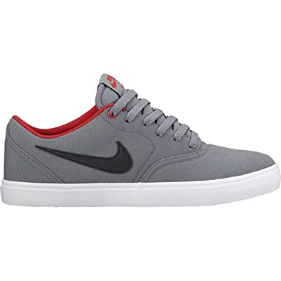 NIKE Mens SB Check Solar Canvas Grey Black University Red Wht Size 6