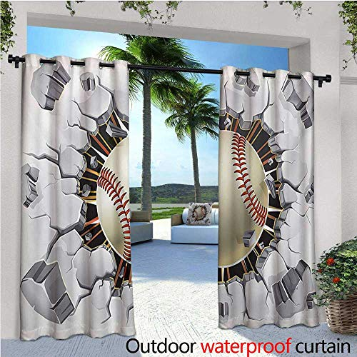 homehot Sports Indoor/Outdoor Single Panel Print Window Curtain Baseball and Old Plaster Concrete Wall Damage Illustration Competition Silver Grommet Top Drape W108 x L96 Ivory Pale Grey Orange ()